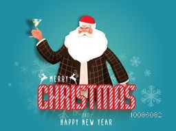 Santa Claus holding cocktail glass on blue background for Merry Christmas and Happy New Year celebration.