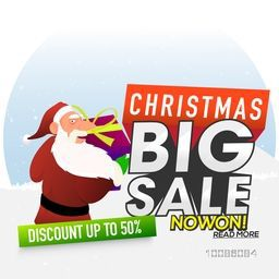Christmas Big Sale with Discount upto 50%. Illustration of Santa Claus holding big gift box.