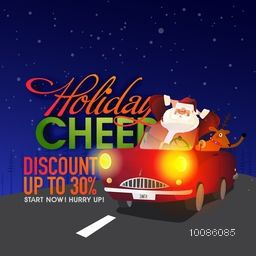 Holiday Cheer, Christmas Sale with Discount upto 30%, Illustration of relaxing Santa Claus with Reindeer in red car.