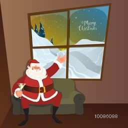 Happy Santa Claus sitting on sofa and wishing on occasion of Merry Christmas.
