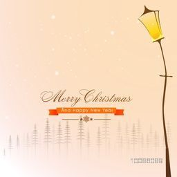 Elegant Greeting Card design with lamp post for Merry Christmas and Happy New Year celebration.