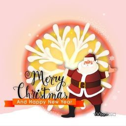 Merry Christmas and Happy New Year celebration with smiling Santa Claus on big snowflake decorated background.