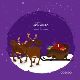 Cute reindeer with sleigh full of gifts on purple background for Merry Christmas and Happy Holidays celebration.