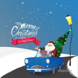 Santa Claus carries Xmas Tree in blue car on snowy background for Merry Christmas and Happy Holidays celebration.