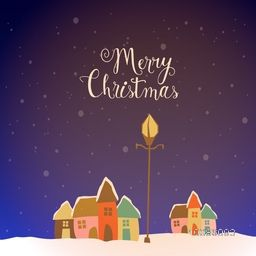 Colorful houses with lamp post on winter background for Merry Christmas celebration.
