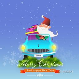 Santa Claus driving a car full of gift boxes for Merry Christmas and Happy New Year celebration.
