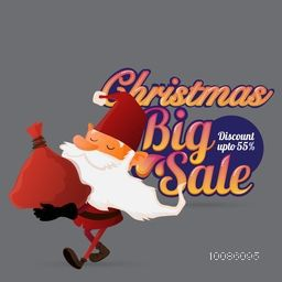 Christmas Big Sale with Discount upto 55%. Illustration of Santa Claus holding red sack on grey background.