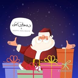 Smiling Santa Claus with colorful gift boxes for Merry Christmas and Happy Holidays celebration.