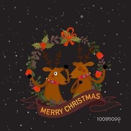 Cute Reindeer in beautiful frame with ribbon for Merry Christmas celebration.