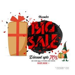Big Sale with Discount upto 70%, Creative Poster, Banner or Flyer design with wrapped gift box.