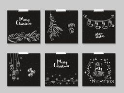 Merry Christmas and Happy New Year cards set in chalkboard style.