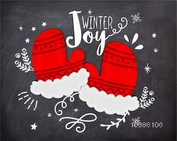 Red and white gloves on chalkboard background for Merry Christmas celebration.