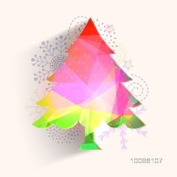 Colorful Xmas Tree on abstract background for Merry Christmas celebration.