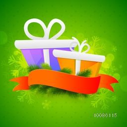 Glossy gift boxes with blank ribbon on snowflakes decorated green background for Merry Christmas celebration.