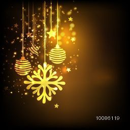 Golden snowflake, xmas balls and stars hanging on shiny brown background, Elegant greeting card design for Merry Christmas celebration.
