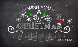 Chalkboard style poster, banner or flyer for Holly Jolly Christmas celebration concept.