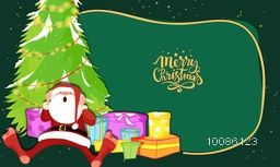 Santa Claus with colorful gift boxes and Xmas Tree on green background for Merry Christmas celebration.