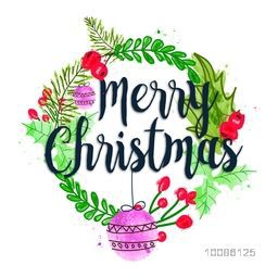 Greeting card design decorated with hand drawn frame for Merry Christmas celebration.