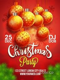 Christmas Party template, banner or flyer design with glossy hanging xmas balls on snowflakes decorated background.