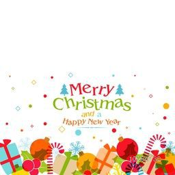 Greeting Card design with colorful ornaments for Merry Christmas and Happy New Year celebration.