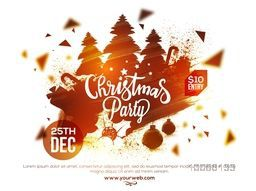 Creative illustration of Xmas Trees with other ornaments made by abstract brush strokes, Elegant poster, banner or flyer for Christmas Party celebration.