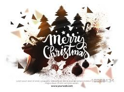 Merry Christmas celebration abstract background with creative Xmas Tress and other ornaments.
