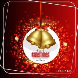 Golden Jingle Bells hanging on shiny red background for Merry Christmas and Happy New Year celebration.