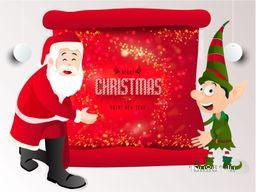 Happy Santa Claus and funny boy holding red shiny scroll paper for Merry Christmas and Happy New Year celebration.