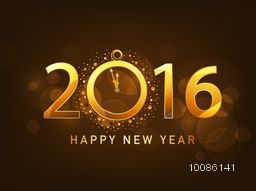 Elegant greeting card design with golden text 2016 and clock showing time for New Year celebration.