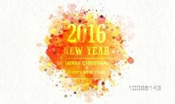 Colorful splash and snowflakes decorated greeting card design for Merry Christmas and Happy New Year 2016 celebration.