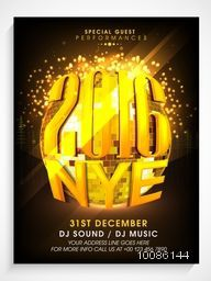 Creative Pamphlet, Banner or Flyer design with golden disco ball for New Year Eve, 2016 celebration.