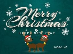 Snowflakes decorated greeting card with cute Reindeers for Merry Christmas celebration.