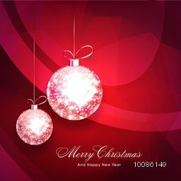 Elegant greeting card design decorated with shiny hanging Xmas Balls for Merry Christmas and Happy New Year celebration.
