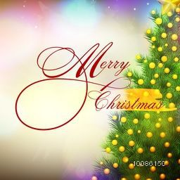 Elegant greeting card decorated with Xmas Tree on shiny background for Merry Christmas celebration.