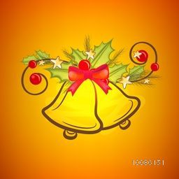 Creative Jingle Bells with mistletoe on shiny background for Merry Christmas celebration.