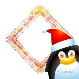 Merry Christmas celebration greeting card design with illustration of cute penguin and stylish blank space for your message.
