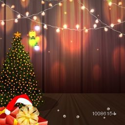 Creative Xmas ornaments and lights decorated greeting card design for Merry Christmas celebration.