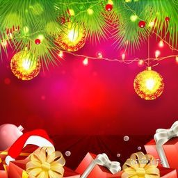 Merry Christmas celebration greeting card decorated with beautiful Xmas ornaments and blank space for your message.