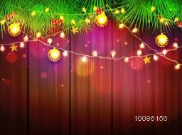 Elegant greeting card decorated with fir tree branches, lights and other ornaments for Merry Christmas celebration.