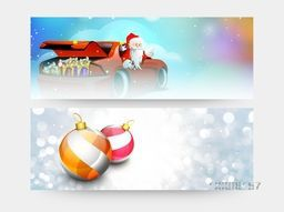Creative website header or banner set with illustration of Santa Claus in red car and glossy Xmas Balls.