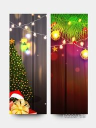 Creative website banner set decorated with beautiful ornaments for Merry Christmas celebration.
