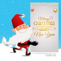 Illustration of Santa Claus wishing for Merry Christmas and Happy New Year celebrations.
