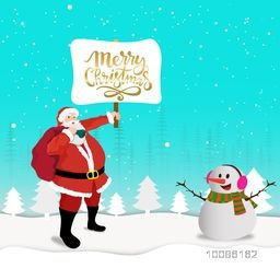 Illustration of Santa Claus holding Merry Christmas board and cute snowman on winter background.