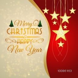 Elegant greeting card design decorated with golden hanging stars for Merry Christmas and Happy New Year celebration.