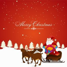 Illustration of Santa Claus standing near reindeer sleigh full of gifts on snowy background for Merry Christmas celebration.
