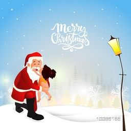 Cute little girl loving Santa Claus on winter background for Merry Christmas celebration.