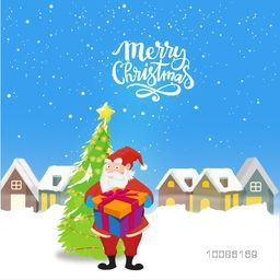 Illustration of Santa Claus holding gift box, xmas tree and snow covered houses for Merry Christmas celebration.