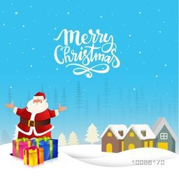 Happy Santa Claus with colorful gift boxes on winter background for Merry Christmas celebration.