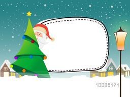 Santa Claus behind Big Xmas Tree on snowy background for Merry Christmas celebration.
