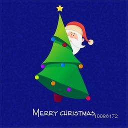 Santa Claus behind Big Xmas Tree on blue background for Merry Christmas celebration.